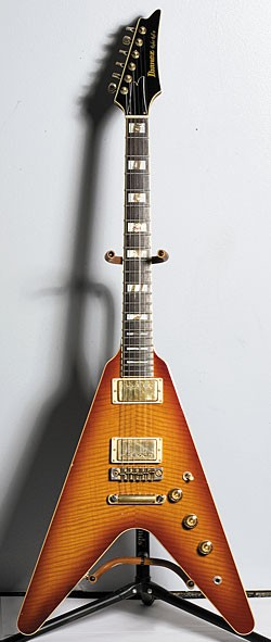 Early-'80s Ibanez Rocket Roll II in Cherry Sunburst, with original bridge but changed studs.