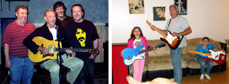 "(LEFT) The Riech family – brothers David (left), Craig, and Michael, with their father (center, at mic) a few years ago when they visited the Fender factory/service center in California. ""Craig and I would play there every Sunday, and dad and David would both come to watch and occasionally sit in,"" Michael said. ""Dad is holding Craig's Taylor. He also had an early-'60s ES-330, which I still have. Dad and David have since passed, and I have fond memories of our Sunday jams."" (RIGHT) The McLaughlin family sent this shot, starring Erin (left) with her Fender Telecaster in Pink Paisley, dad (Andy) with a Fender Custom Shop '55 Telecaster, and Ian with his Gibson Les Paul."