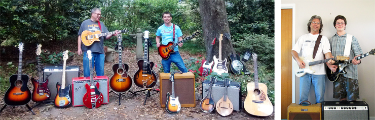 "(LEFT) Doc and Daniel Simons' collection includes (from left) a Blueridge BR-343 Gospel Trinity, a ""partscaster,"" a '68 ""drip-edge"" Super Reverb, Squier Mustang bass, '66 Vibrolux Reverb in Red Sparkle Mojotone Cab, Epiphone ES-339 PRO, '90s Gibson Nighthawk Standard with factory Floyd Rose, Gibson Western Classic 200 reissue, '54 Guild X-350, '94 Nighthawk Custom, a Deluxe 5E3 clone, Fender FM-61SE electric mandolin, two Strad-O-Lin mandos,a '65 Deluxe Reverb, a parts Tele, a guitar they call the ""Frankencaster"" (with P-90s), and Epiphone resonator they call The Biscuit, and a Blueridge BR-160. (RIGHT) Shawn Cyr and his son, Connor, enjoy rockin' together. Here's Shawn with his '62 Fender Esquire and '54 Deluxe, while Connor employs the family's '72 Gibson Les Paul Custom and '72 Deluxe Reverb."