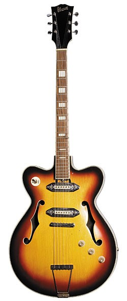 Mid-'60s Ibanez Model 495 hollowbody in Yellow Sunburst finish with replaced bridge and tailpiece. Appeared on cover of Gilbert's Spaceship One album.