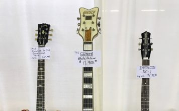 1962 was a great year! A '62 Gretsch White Falcon Stereo (center), a 1962 Gibson ES-335 (left) and a Danelectro DC-1 (right)