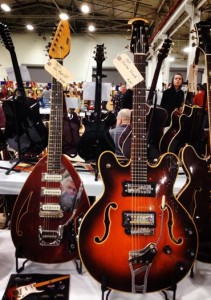 1967 Vox Teardrop Mark VI and 1969 Ovation Tornado at Vintage Guitar Specialists.