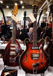 1967 Vox Teardrop Mark VI and 1969 Ovation Tornado at Vintage Guitar Specialists.