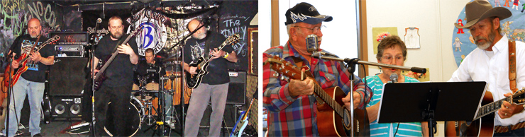 "(LEFT) Stan Adamczyk sent this shot of himself and his sons. That's Ivan ""The Butcher"" on a redburst Hagstrom, Adam ""Catfish Crazy"" on six-string Carvin bass, with ""Guitar Man"" Stan on black Les Paul.  (RIGHT) Todd Burrell sent this shot of his dad (Lefty), mom, and Uncle Skinny – The Family Band – jamming."