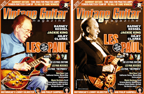 Only once in our 28-plus years has Vintage Guitar printed a double cover and that was to honor Les Paul. Here are the two covers from the November 2002 issue, which contained this interview.