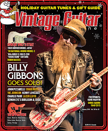 Vintage Guitar magazine January 2016 Billy Gibbons Foliday Guitar tunes and Gift Guide