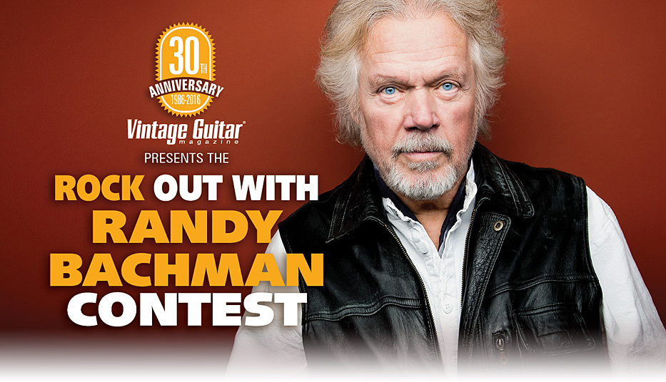 Randy Bachman vintage Guitar magazine Rock Out with Randy contest Header