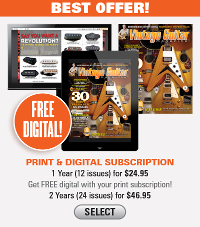 Vintage Guitar magazine subscription Both