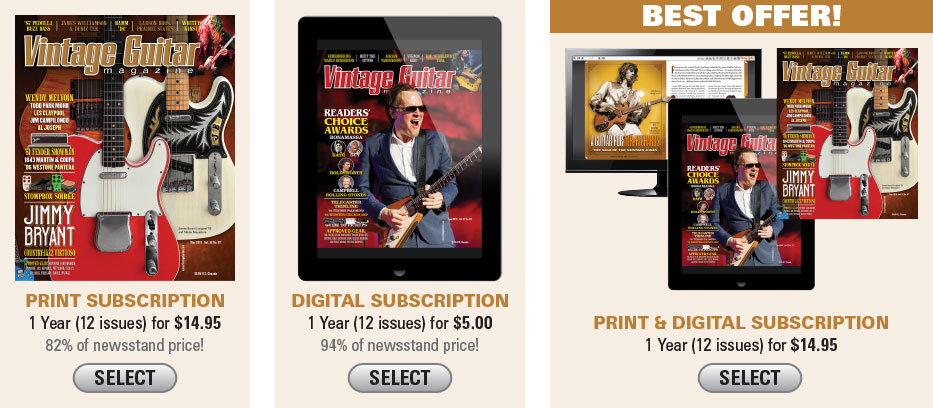 JBC218 $14.95 Vintage Guitar magazine New subscription Offer