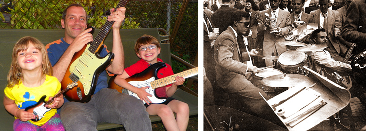 """(LEFT) Chris Gojdics and and his kids, Sophia and Nicholas, love their Fender Strats! Here, Chris has his 1960 hardtail while six-year-old Nicholas plays a '54 reissue Masterbuilt and three-year-old Sophia strums a mini replica. (RIGHT) Ed Amos playing his Gibson L-5 (with attached pickup) circa 1948 during his graduation from the University of Virginia.""""Dad later traded that guitar for a green-and-gold-sparkle Mosrite bass, which he played in a country-and-western band,"""" said his son, Cam. """"Dig the beer stein!"""""""