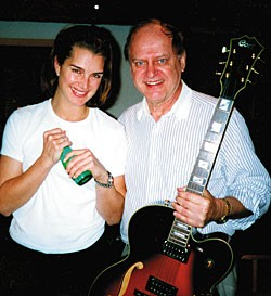 Casher with actress Brooke Shields at a soundtrack recording session.