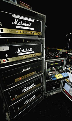 Urban's Marshall amp rack is an all-Marshall affair.