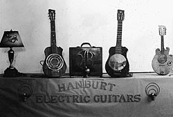 The Hanburt Electric Guitars display