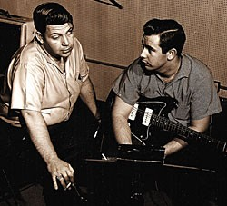 Kennedy (right) in the studio