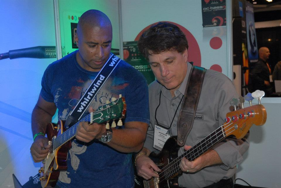 Former N.Y. Yankee great (and future Hall-of-Famer!) Bernie Williams (left) stopped to jam at the Whirlwind booth