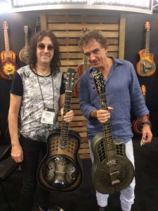 Aussie rockers Gwyn Ashton and Ian Moss at the National Resophonic booth.