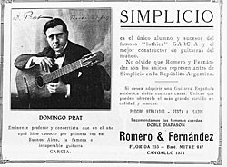 Advertisement from the July, 1926, issue of the Revista Tárrega.