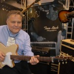 Saul Koll with his new Troubadour model in the Premier Builders Guild booth. It uses a TV Jones humbucker in the bridge position