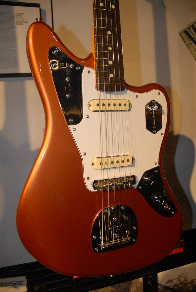A still-in-process finish on a prototype Fender Johnny Marr signature Jaguar