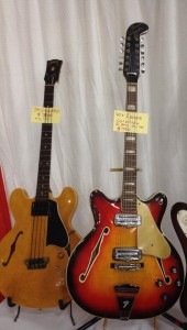 '59 Gibson EB-2 and '60s Fender Coronado 12-string at Southworth Guitars.
