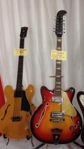 '59 Gibson EB-2 and '60s Fender Coronado 12-string at Southworth Guitars.
