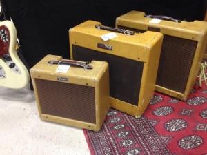 '61 Fender Champ, '52 Deluxe and '56 Deluxe Tweed at Garrett Park Guitars.
