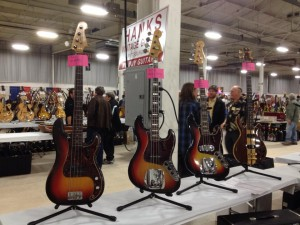 '61 Fender Precision Bass, '73 Jazz, '66 Jazz, and '80 Veillette-Citron bass at Hank's Vintage Guitars.