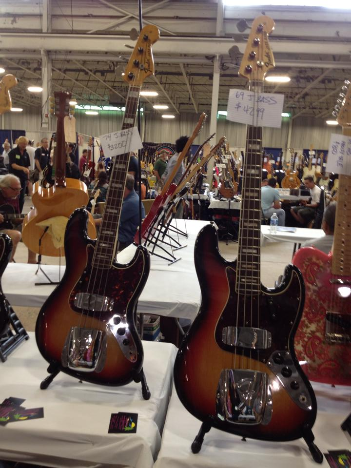 '74 & '69 Jazz Basses at Lakeshore Guitars.