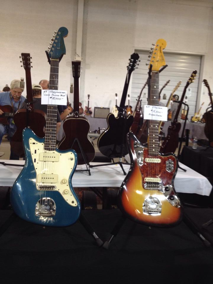 A pair of '65 Fenders - a Lake Placid blue Jazzmaster and sunburst Jaguar.
