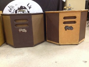 A pair of Gibson 79 combo amps at Jim's Guitars.