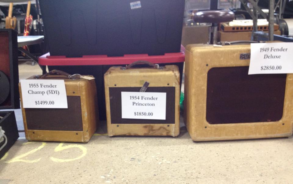 A trio of vintage Fender combos.