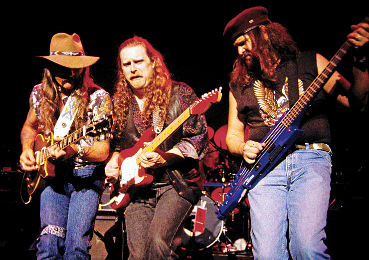 The Allman Brothers jam, '90s-style: From left, Dickey Betts, Warren Haynes, and Allen Woody.