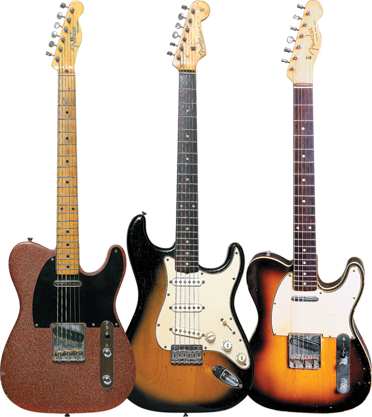 "(LEFT TO RIGHT) This '56 Fender Telecaster – refinished in red sparkle – is the primary guitar heard on Dwight Yoakam's Guitars, Cadillacs, Etc. Etc... Anderson wrung his share of notes from this '59 Fender Stratocaster on the Yoakam hits ""Fast As You"" and ""Long White Cadillac."" Pete made heavy use of this '59 Fender Tele Custom while backing Yoakam."