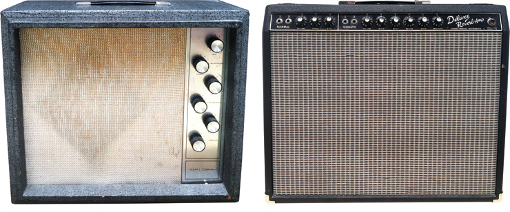 "(LEFT) This Silvertone 1472 sees a good bit of action in Anderson's recording studio. (RIGHT) Anderson's modified Fender Deluxe Reverb is fitted into a taller cabinet to house a 15"" Eminence Speaker."