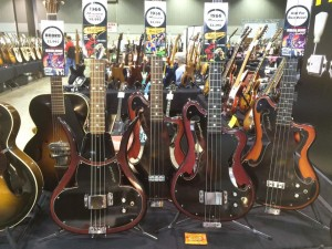 We've always loved Ampeg's kick-ass basses from the '60s, like these in the Abalone Music booth at Guitarlington 2015.