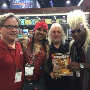 The #NAMMshow is where friends catch up! #VintageGuitar publisher Alan Greenwood catches up with Seymour Duncanand #BeauvoirFree's Micki Free and Jean Beauvoir at #NAMM2015. #guitarlove #NAMM15 — in Anaheim, California.