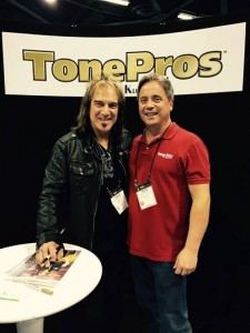 Dave Amato from REO Speedwagon with his biggest fan, #VintageGuitar publisher Alan Greenwood bonding in the TonePros booth at #NAMM2015. #tonepros #guitarlove #NAMMshow #reospeedwagon #daveamato #NAMM15