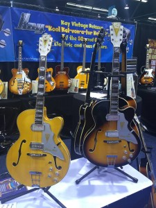 Do gentlemen prefer Tobacco Sunburst or Blonde? Because we'll take both of these Barney Kessel Gold K Signature Series Jazz Special Electric Guitars from Kay!