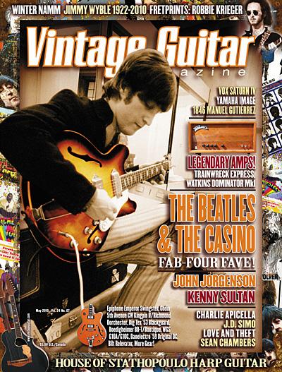 May 2010 Vintage Guitar magazine John Lennon Epiphone Casino