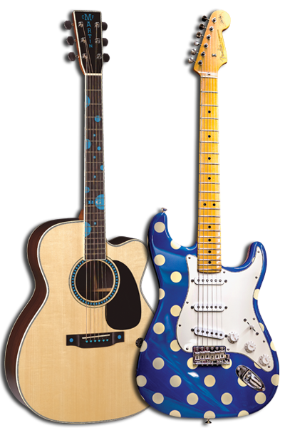(RIGHT) Buddy Guy's personal Fender Sratocaster. (LEFT) The Martin JC Buddy Guy model.