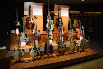 Several rare and one-of-a-kind vintage Gretsch guitars from the 1960s on display at the Country Music Hall of Fame and Museum. Photo: Ron Denny/The Gretsch Company.