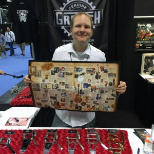 Adam Seutter at the Gretsch booth. Tag your #Bigsby on social media, then stop by the #Gretsch booth at #NAMM2015 to take home a little bit of history! #NAMMshow #vintageguitar #guitargear #NAMM — in Anaheim, California.