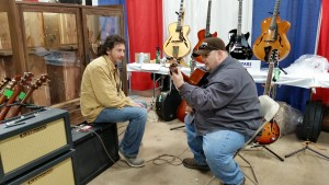 Bill Comins / Comins Guitars with Johnny Hiland testing out an Alessandro Amp.