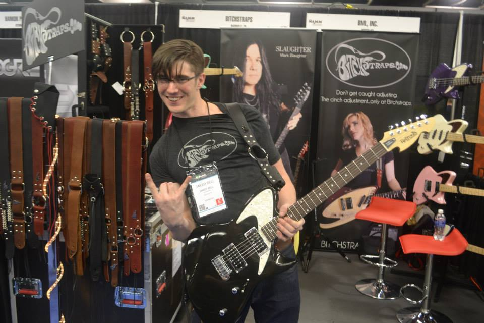 Jared Bell rocks out with his Retronix R-800 at the Bitch Strap booth.