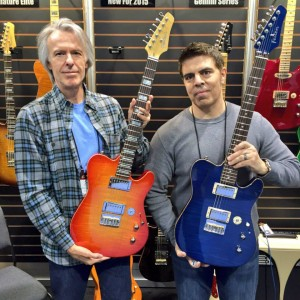 Feast your eyes on the Gemini Series from Buzz Feiten #Guitars! #NAMM2015 #gemini #vintageguitar #buzzfeitenguitars #guitar #guitarlove #NAMMshow — in Anaheim, California.