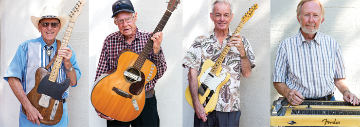 (LEFT TO RIGHT) Arliss McMinn with his Esquire, which after being painted white in the '50s was later sanded and left with a dark-stained finish. Harold Courtright with his Martin 000-18, modified by both Leo Fender and Paul Bigsby. Jack McClure today.