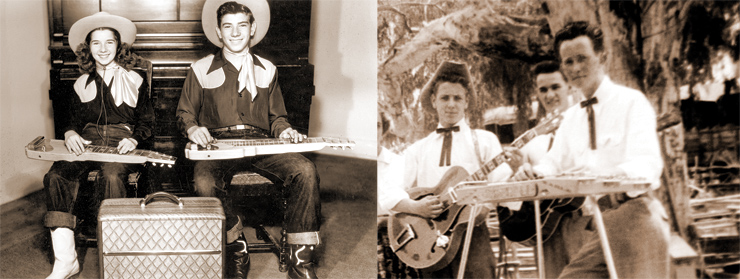 (LEFT) Delpha (left) and Arlis McMinn with their Princeton lap steel guitars and the amplifier made by their father. (RIGHT) Before joining the Caliornia Playboys, Bill Galvan (right) played with other groups, including the Carlton Brothers' Melody Rangers, whose rhythm guitarist/singer was Eddie Cochran (left).