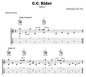 "Mississippi John Hurt classic ""C.C. Rider"" Tab 02"