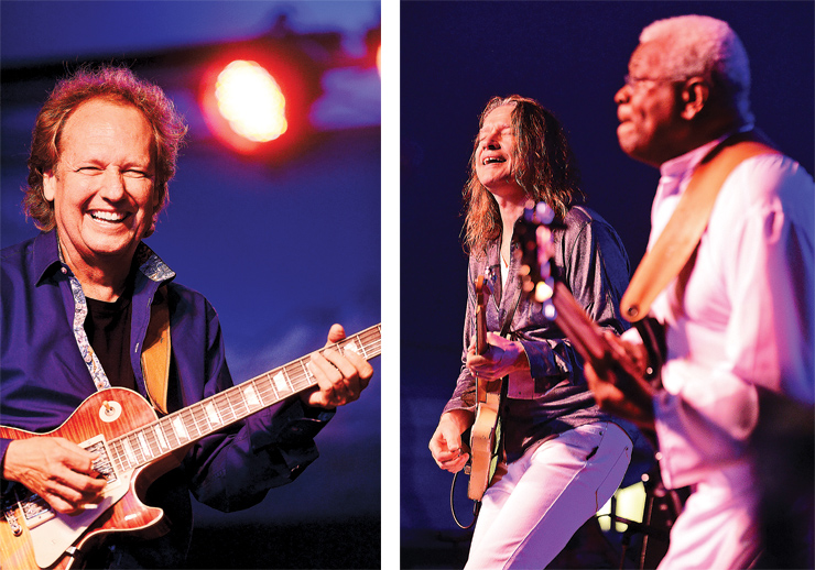 (LEFT) Lee Ritenour. (RIGHT) Robben Ford with bassist AbeLaboriel.