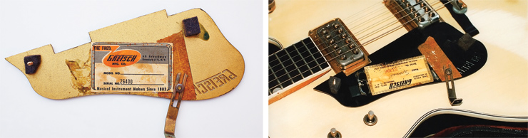 "(LEFT) The label of Country Gent number 26400, applied to the backside of the pickguard. (RIGHT) The label of prototype Gent number 23396, with ""Special"" written in the line for model designation."
